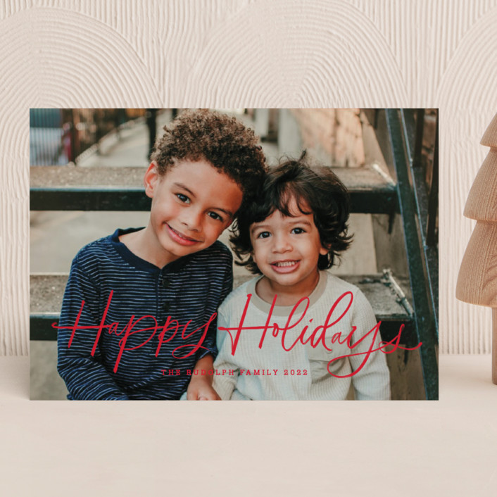 """""""holiday brush"""" - Holiday Photo Cards in Sugar by Kristen Smith."""