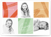 This is a red holiday photo card by Oscar and Emma called Modern Squares with standard printing on smooth signature in standard.