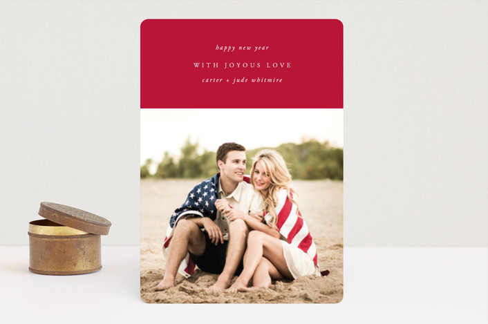 """""""Classic Block"""" - Holiday Photo Cards in Crimson by Kate Ross."""