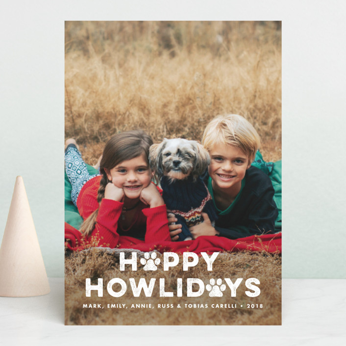 """""""Howliday Paws"""" - Funny Holiday Photo Cards in Snow by Paper and Parcel."""