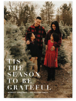 This is a white holiday photo card by Angela Marzuki called to be grateful with standard printing on smooth signature in standard.
