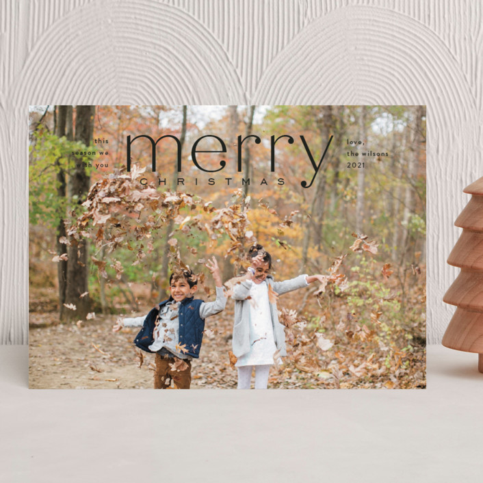 """""""Mod Tidings"""" - Holiday Photo Cards in Midnight by Amy Kross."""