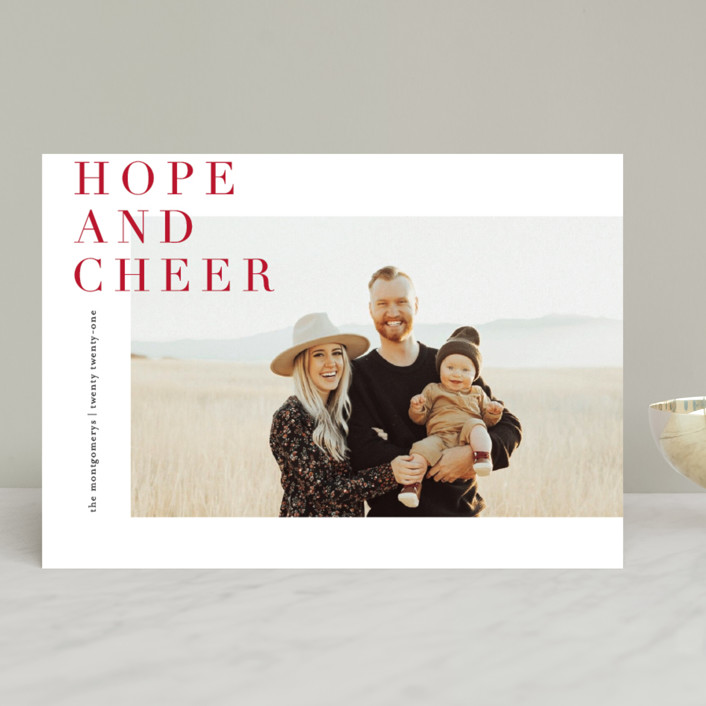 """""""Editorially"""" - Holiday Photo Cards in Berry by Julie Murray."""