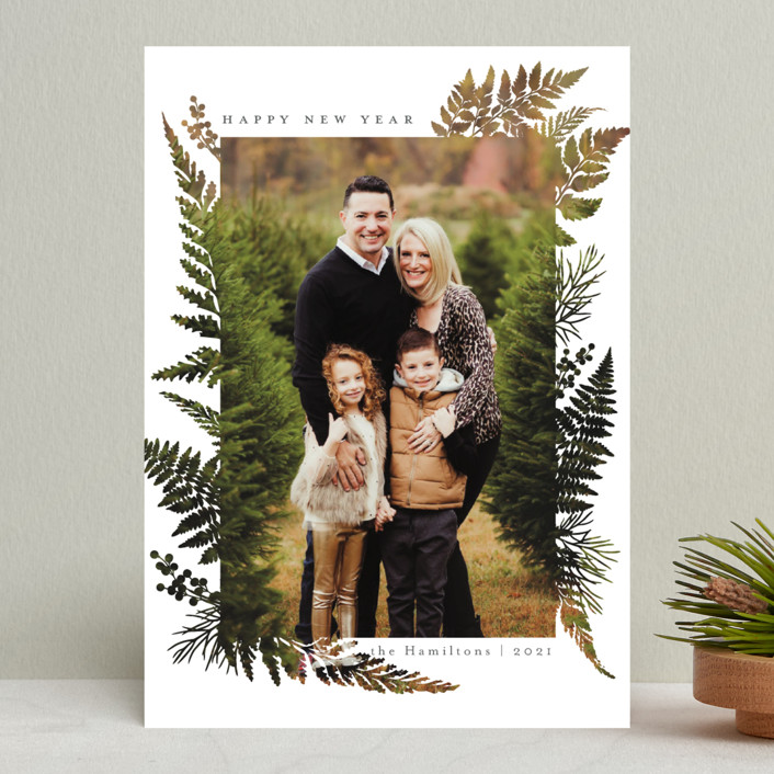 """Christmas Blessings"" - Modern Holiday Photo Cards in Coal by Caitlin Considine."