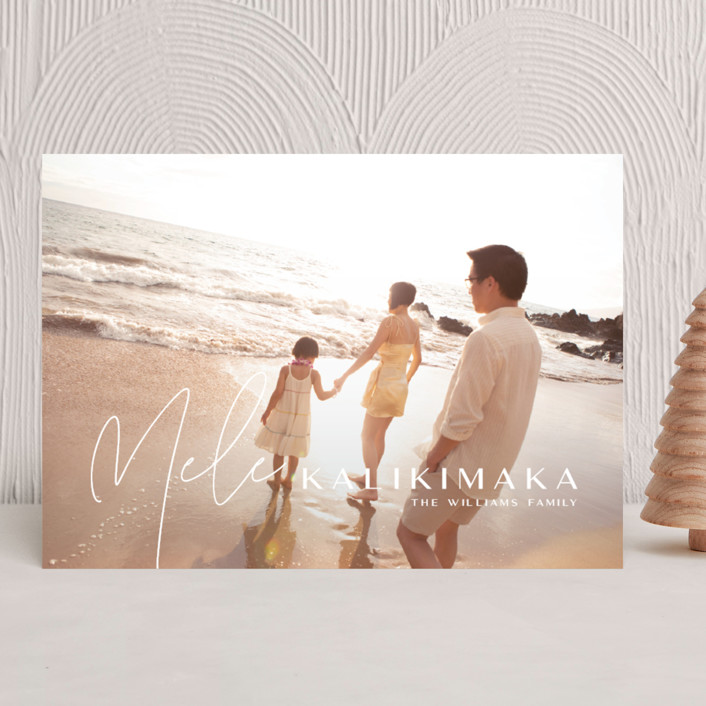 """Island Kalikimaka"" - Modern Holiday Photo Cards in Pikake by Guess What Design Studio."