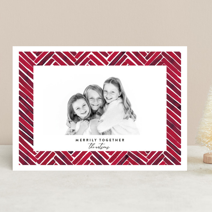 """Merrily Together"" - Modern Holiday Photo Cards in Crimson by Susan Moyal."