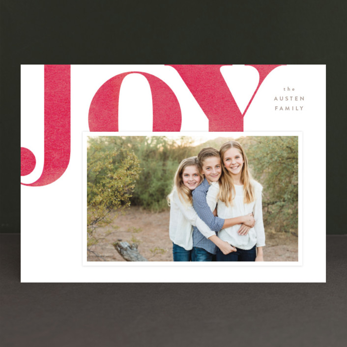 """Statement Joy"" - Holiday Photo Cards in Emerald velvet by kelli hall."