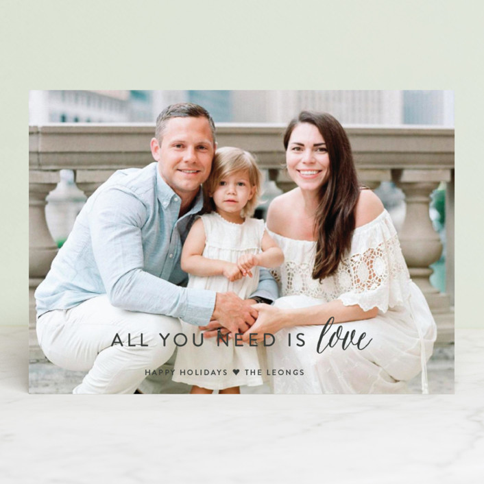 """""""All You Need is Love"""" - Bohemian Holiday Photo Cards in Charcoal by Sarah Curry."""