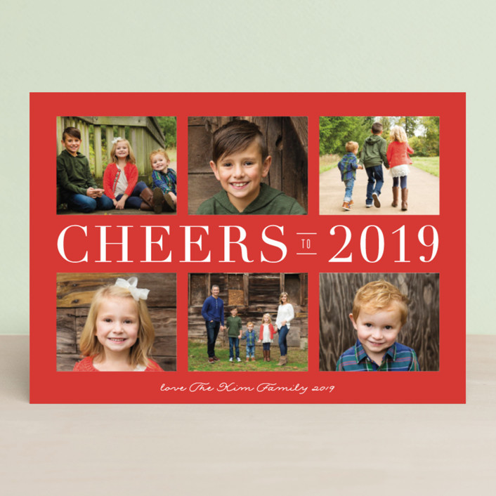 """""""Peace Collage"""" - Holiday Photo Cards in Holly Berry by Carolyn MacLaren."""