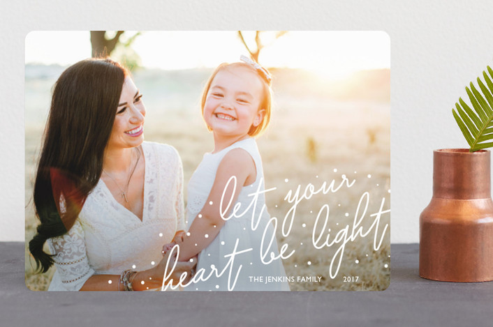"""""""Light Hearted"""" - Holiday Photo Cards in Snowfall by Kaydi Bishop."""