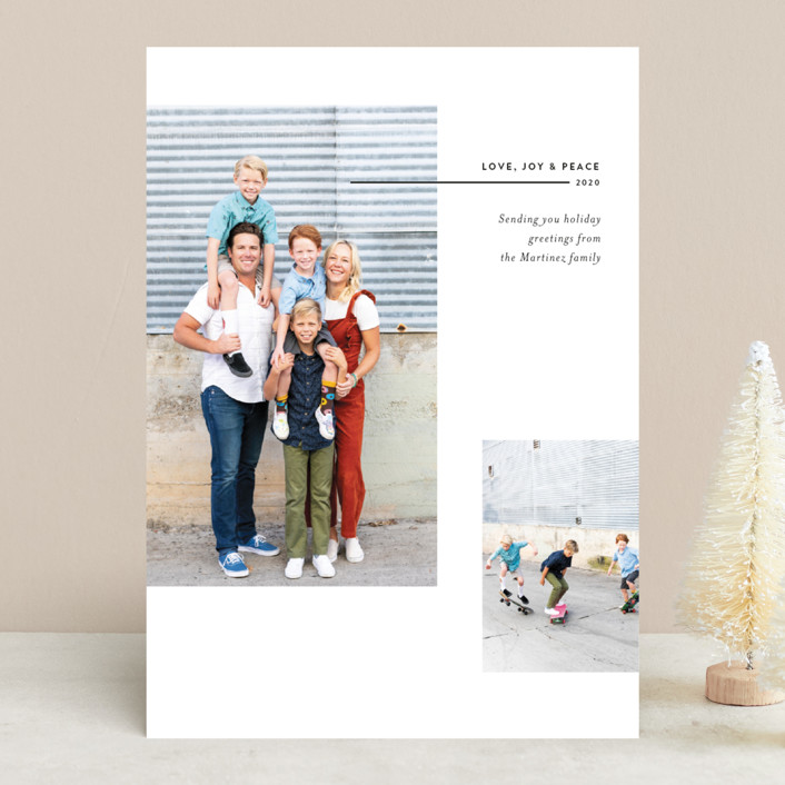 """Split Frame Holiday"" - Holiday Photo Cards in Poinsettia by Becca Thongkham."