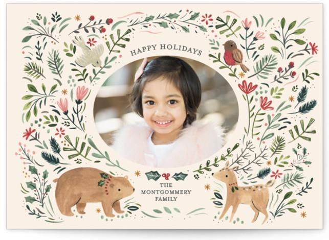 Festive Woodland Holiday Photo Cards