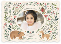 This is a beige holiday photo card by Sarah Knight called Festive Woodland with standard printing on smooth signature in standard.