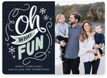 This is a blue holiday photo card by Jamie Schultz Designs called Festive Oh What Fun with standard printing on smooth signature in standard.