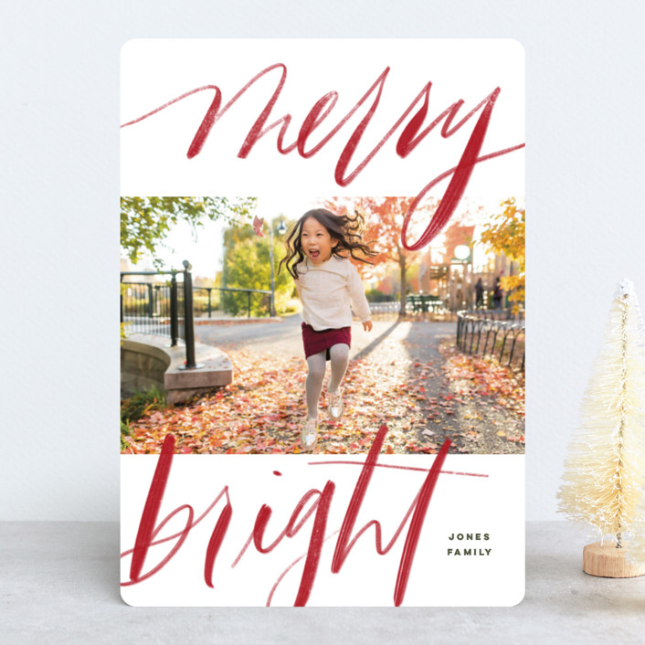 """Bold Merry + Bright"" - Holiday Photo Cards in Ruby by Elsa Duncan."