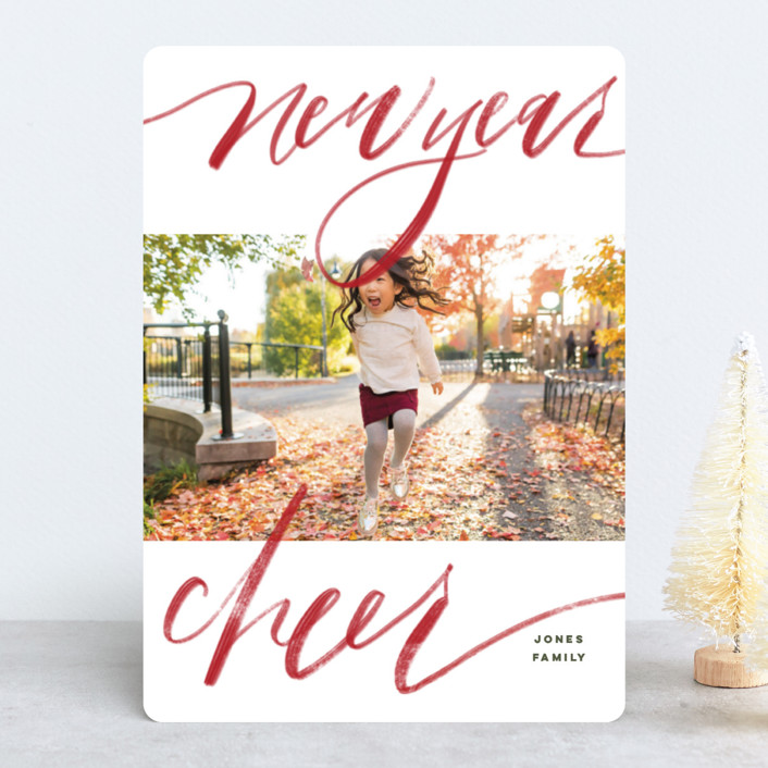"""""""Bold Merry + Bright"""" - Holiday Photo Cards in Ruby by Elsa Duncan."""