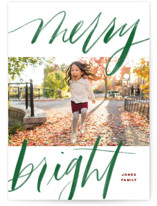 This is a green holiday photo card by Elsa Duncan called Bold Merry + Bright with standard printing on smooth signature in standard.