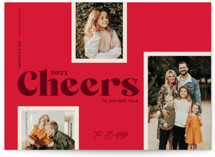 This is a red holiday photo card by Shari Margolin called Merry Vistas with standard printing on smooth signature in standard.
