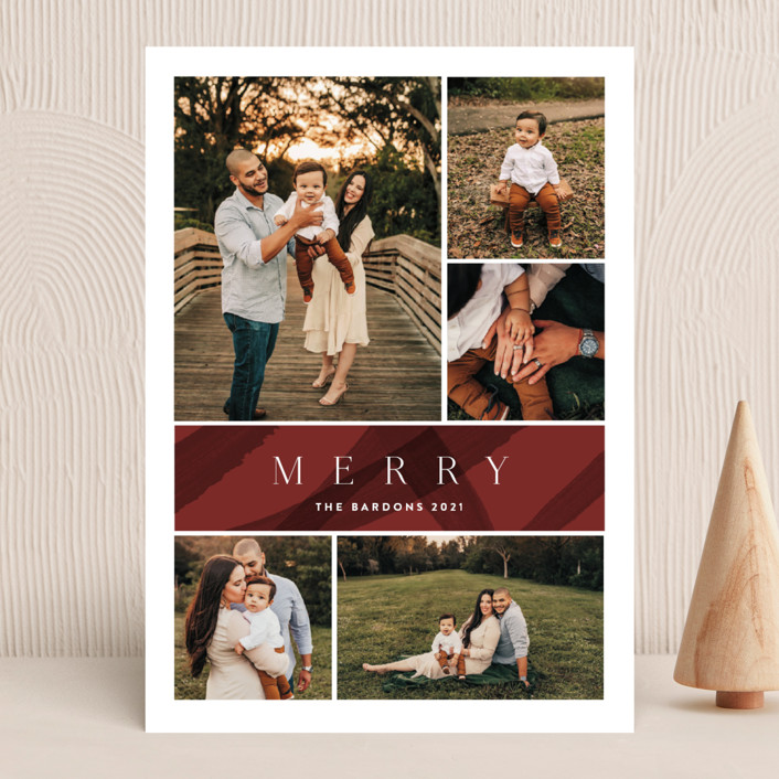 """""""cinnamon"""" - Modern Holiday Photo Cards in Brick by Kate Ahn."""