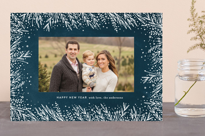 """Filigree Frame"" - Holiday Photo Cards in Midnight by Phrosne Ras."