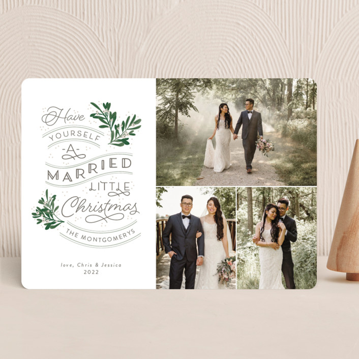 """""""A Little Married"""" - Bohemian, Vintage Holiday Photo Cards in Evergreen by Sarah Brown."""