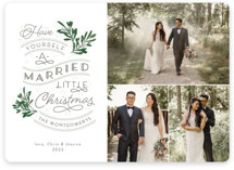This is a green holiday photo card by Sarah Brown called A Little Married with standard printing on recycled smooth signature in standard.