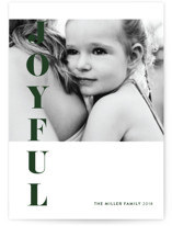 This is a green holiday photo card by Nicoletta Savod called Bold Joy with standard printing on smooth signature in standard.