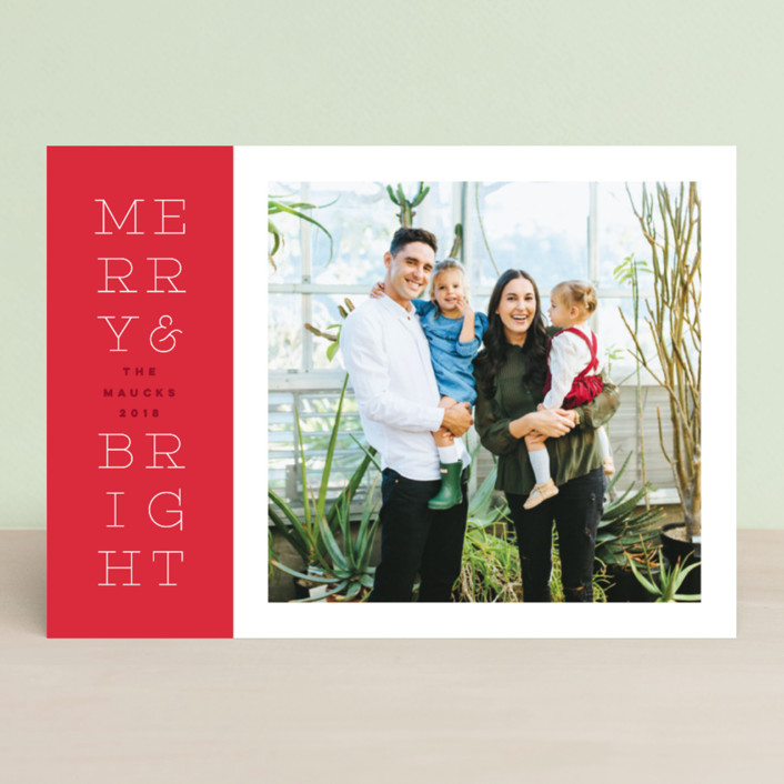 """""""bright stack"""" - Holiday Photo Cards in Cherry Bomb by Design Lotus."""
