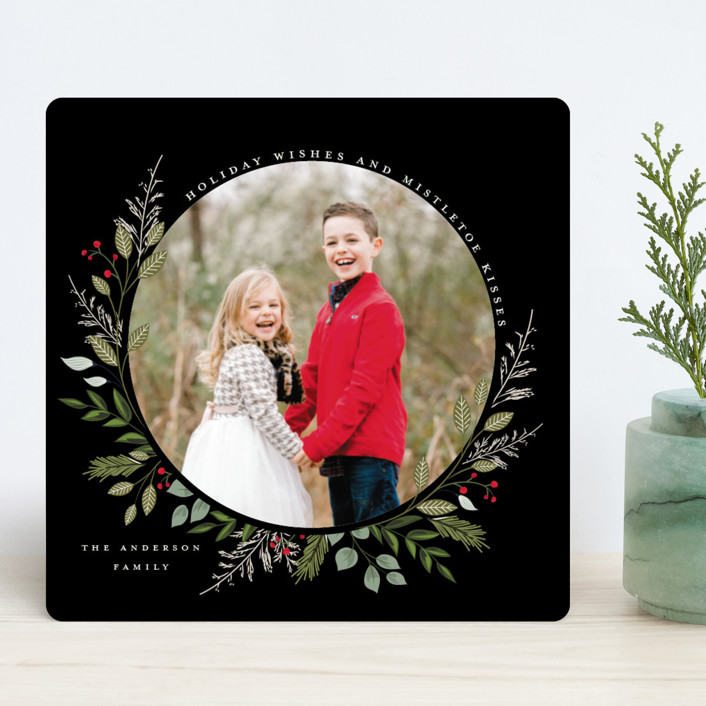 """Mistletoe Kissed"" - Holiday Photo Cards in Berry by Susan Moyal."
