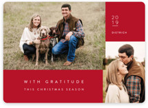 This is a red holiday photo card by Jennifer Lew called with gratitude with standard printing on smooth signature in standard.