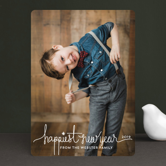 """""""Holiday Revelry"""" - Modern, Full-Bleed Photo Holiday Photo Cards in Frost by Design Lotus."""