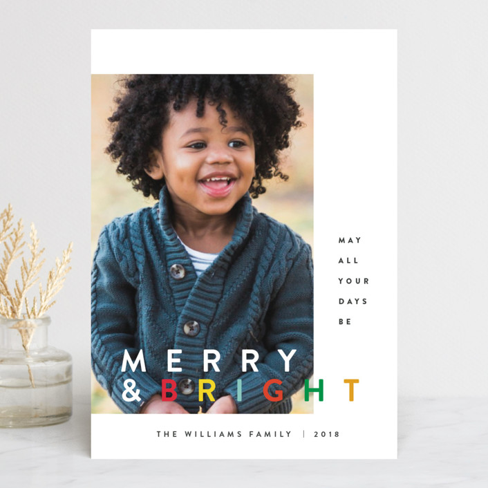 """the happy minimalist"" - Holiday Photo Cards in Rainbow by Design Lotus."