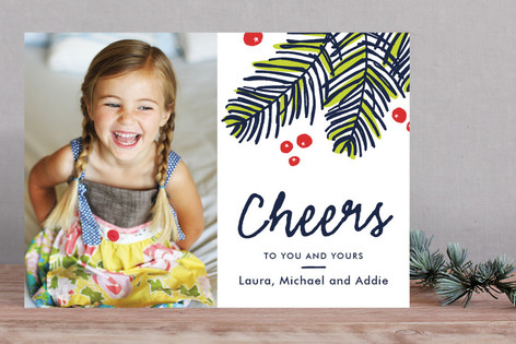 Modern Pine Holiday Photo Cards