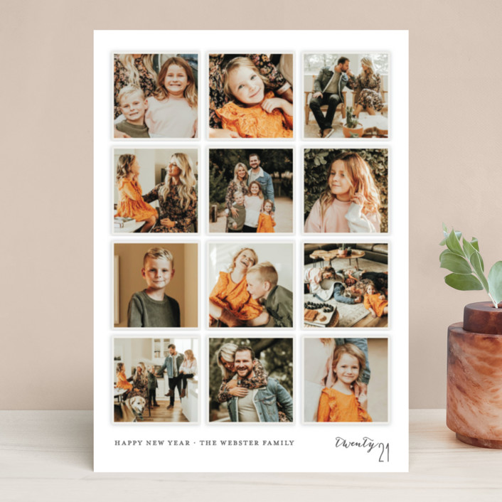 """""""A Year in My Life"""" - Photo Collage, Simple Holiday Photo Cards in Snowfall by Robin Ott."""