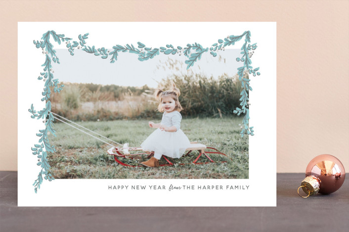 """Wispy Garland"" - Bohemian Holiday Photo Cards in Cornflower by Novel Paper."