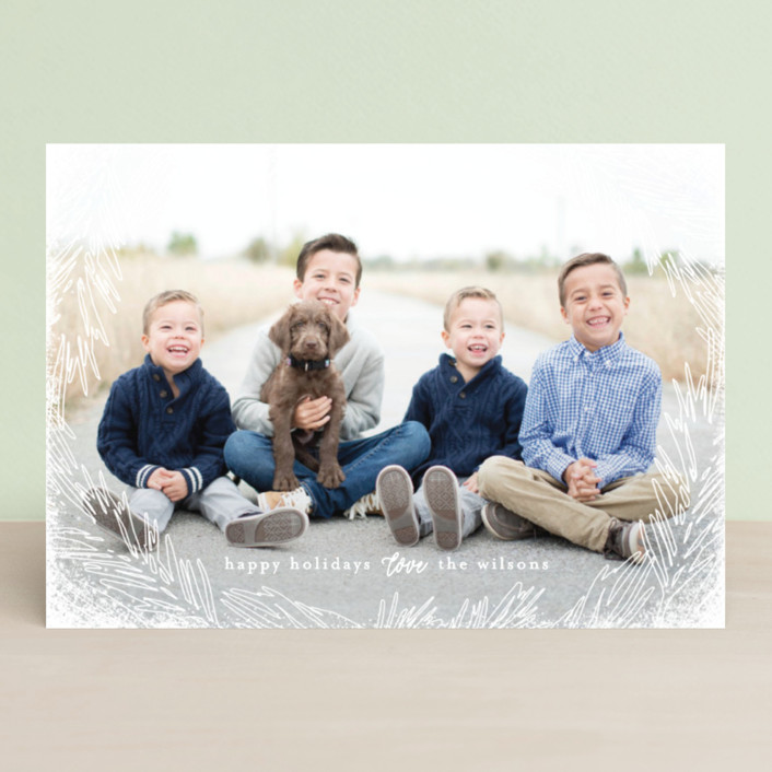 """Delicate Branch Border"" - Bohemian Holiday Photo Cards in Daisy by Melanie Severin."