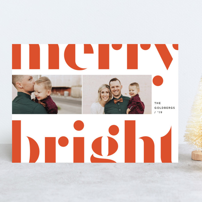 """Merry and bold"" - Holiday Photo Cards in Festive Red by Anna Elder."
