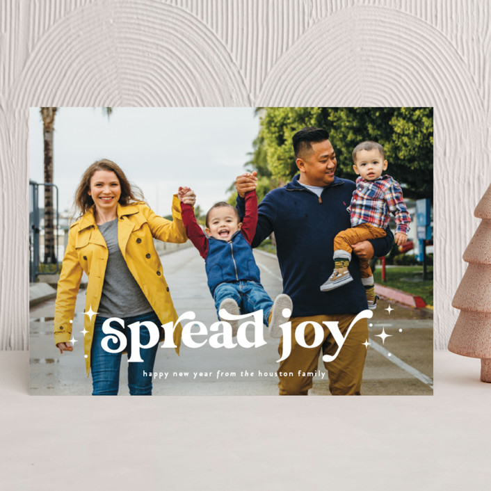 """""""Spread Joy"""" - Bohemian, Vintage Holiday Photo Cards in Starlight by Leah Ragain."""