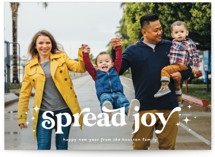 This is a white holiday photo card by Leah Ragain called Spread Joy with standard printing on smooth signature in standard.