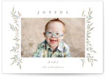 This is a brown holiday photo card by Everett Paper Goods called Elegant Boughs with standard printing on smooth signature in standard.