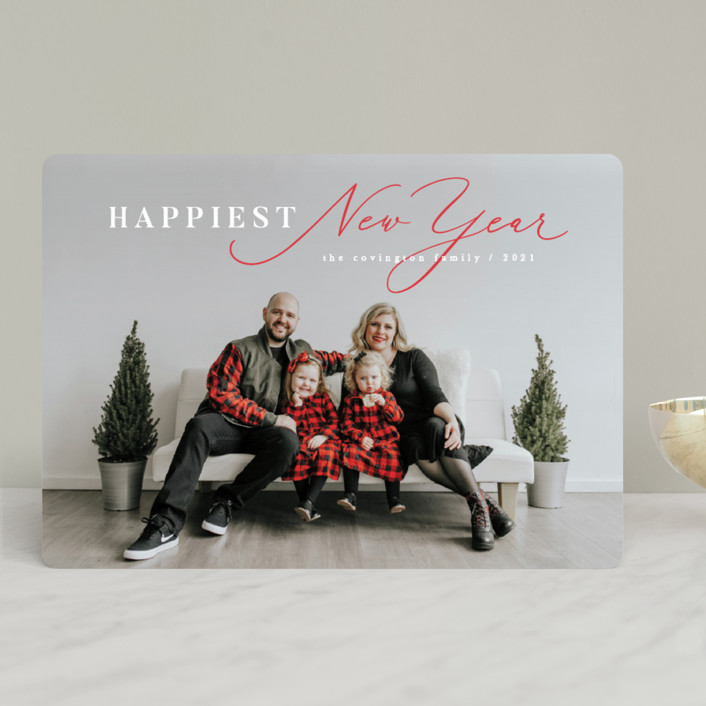 """Bright Spirits"" - Holiday Photo Cards in Poinsettia by Hooray Creative."