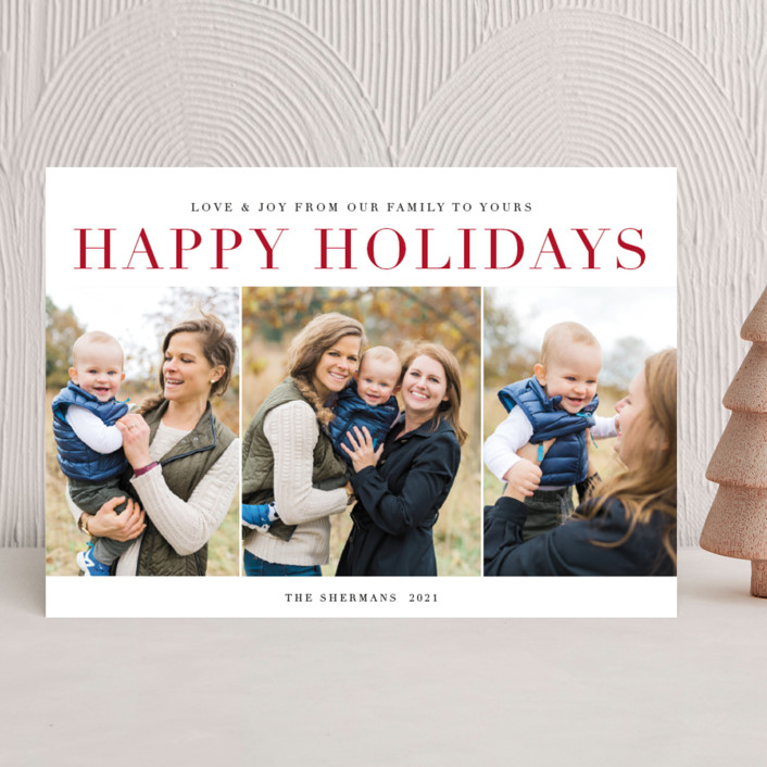 """classic sentiment"" - Holiday Photo Cards in Peppermint by Jennifer Lew."