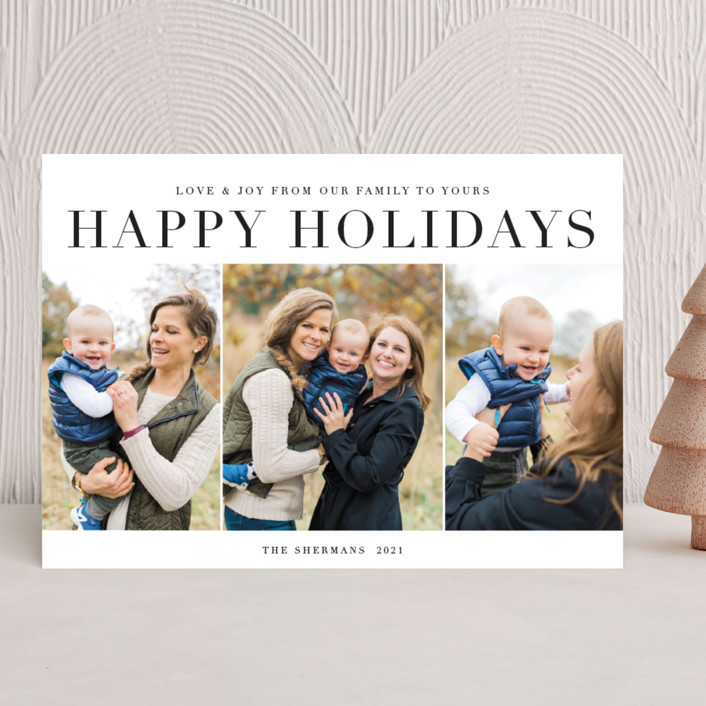 """""""classic sentiment"""" - Holiday Photo Cards in Coal by Jennifer Lew."""