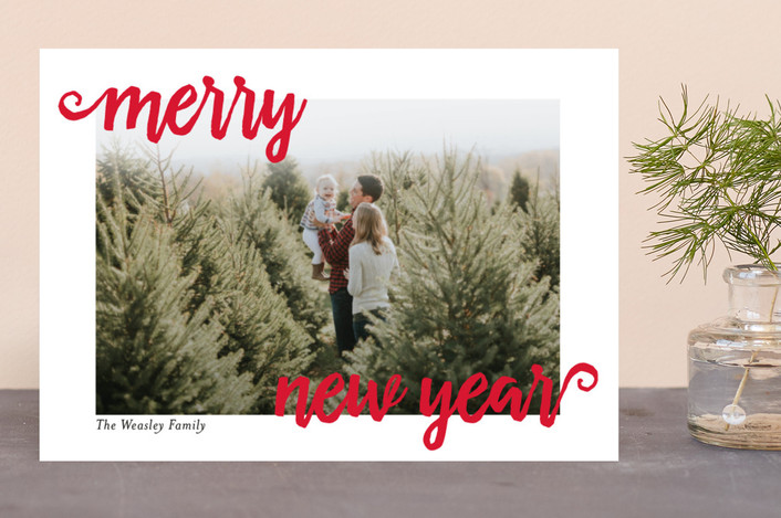 """""""Christmas Merry"""" - Holiday Photo Cards in Scarlet by chica design."""