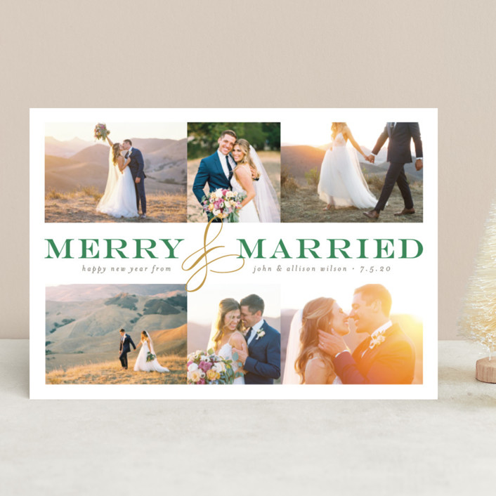 """""""Merry and Married Collage"""" - Holiday Photo Cards in Charcoal by Pistols."""