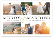 This is a black and white holiday photo card by Melissa Egan of Pistols called Merry and Married Collage with standard printing on smooth signature in standard.