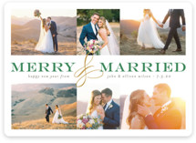 This is a green holiday photo card by Pistols called Merry and Married Collage with standard printing on smooth signature in standard.