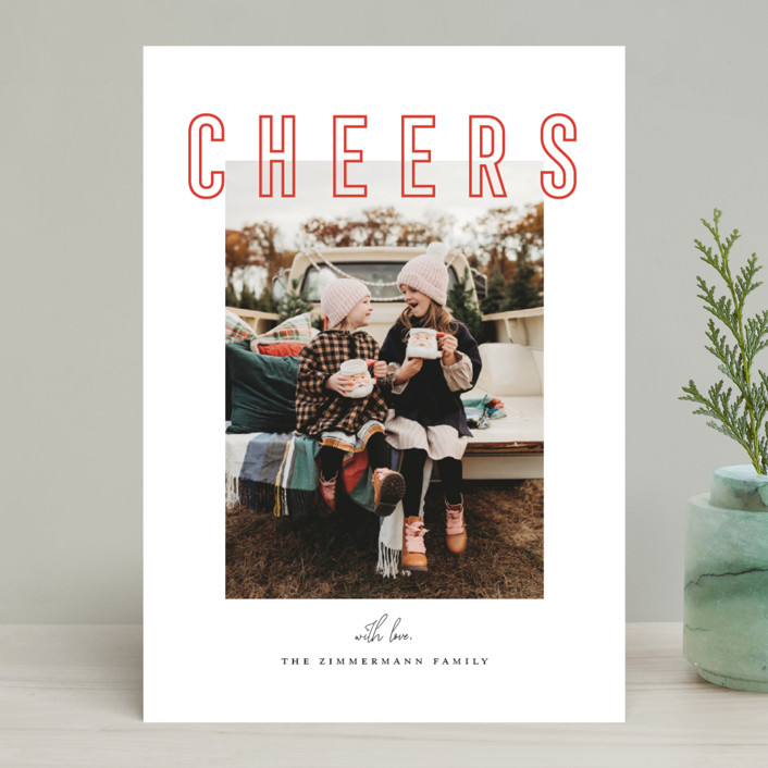 """""""Joyful & Peaceful"""" - Holiday Photo Cards in Candy Cane by Juliana Zimmermann."""