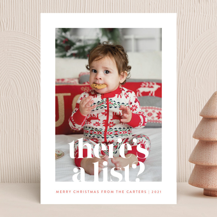 """""""There's a List"""" - Funny Holiday Photo Cards in Persimmon by Olivia Raufman."""