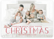 This is a red holiday photo card by Annie Holmquist called Deco Christmas with standard printing on smooth signature in standard.